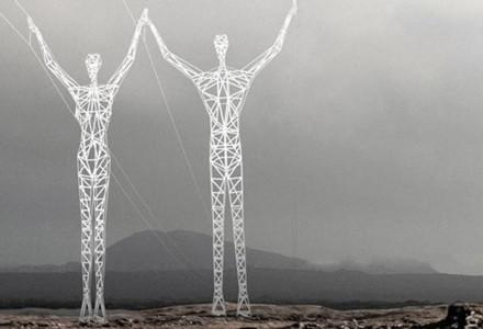 piloni alta tensione statue