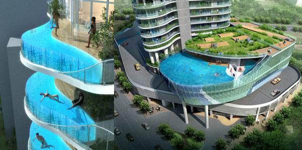 Aquaria Grande a Mumbai con piscine sospese sui balconi | DesignBuzz.it