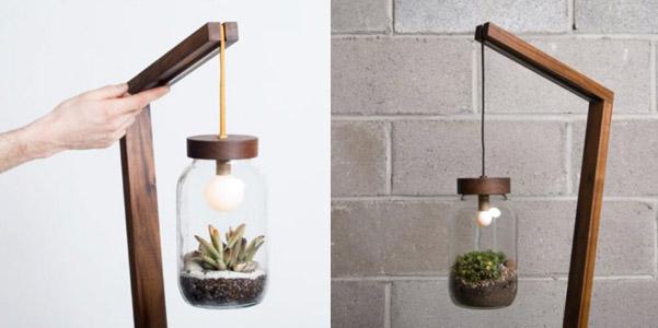Lampada con terrario for Idee per lampadari fai da te