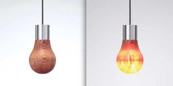 lampadina legno massello