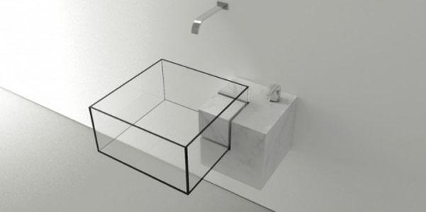 lavabo cube vetro trasparente